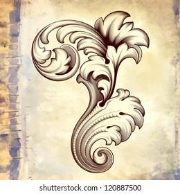 Vector vintage baroque engraving floral scroll filigree design frame border acanthus pattern element at retro grunge background