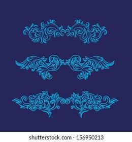 Vector vintage baroque engraving floral scroll filigree design