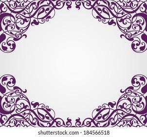 vector vintage Baroque scroll design frame border corner pattern element engraving retro style ornament