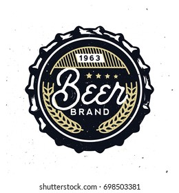 Vector vintage beer cap with grunge effect. Stock vector illustration. Retro beer cap in vintage style. Beer branding