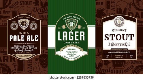 Vector vintage beer labels and packaging design templates. Pale ale, lager and stout labels. Brewing company branding and identity design elements.