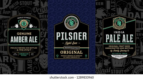 Vector vintage beer labels and packaging design templates. Pale ale, pilsner and amber ale labels. Brewing company branding and identity design elements.