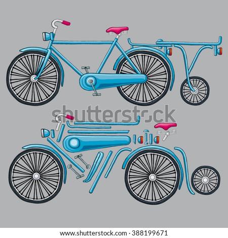 Vector Vintage Bicycle Trailer Bicycle Parts Stock Vector Royalty