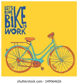 vector vintage bike go to work in yellow background