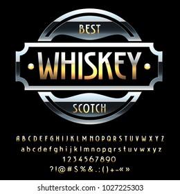 Vector vintage Black Emblem Best Whiskey Scotch. Set of Golden Alphabet Letters, Numbers and Symbols