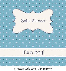 Vector vintage blue background with stars baby shower