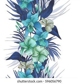 Vector vintage blue floral tropical seamless border. Exotic flowers, twigs and leaves. Botanical bright classic illustration on white background