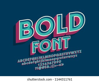 Vector Vintage Bold Font. Set of Retro 3D Letters, Numbers and Symbols