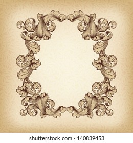 vector vintage border  frame engraving  with retro ornament pattern in antique baroque style decorative design