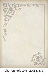 Vector vintage border frame at grunge textured old paper background with decorative pattern in antique baroque style