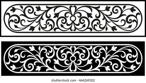 Vector vintage border frame logo engraving with retro ornament pattern in antique rococo style decorative design