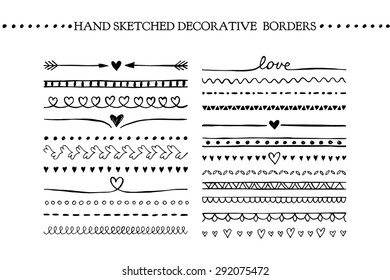Vector vintage borders and scroll elements. Hand drawn vector design elements