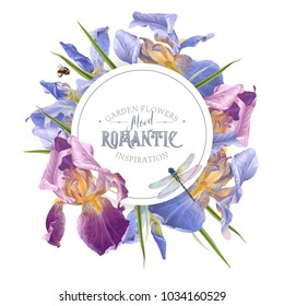 Vector vintage botanical banner with iris flowers and dragonfly on white. Floral design for natural cosmetics, perfume,women products. Can be used as greeting card,wedding invitation,summer background