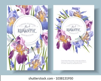 Vector vintage botanical banners with iris flowers and dragonfly on white. Floral design for natural cosmetics, perfume,women products.Can be used as greeting card,wedding invitation,summer background