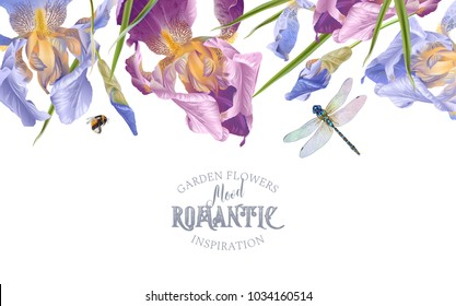 Vector vintage botanical border with iris flowers and dragonfly on white. Floral design for natural cosmetics, perfume,women products. Can be used as greeting card,wedding invitation,summer background