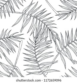 Vector vintage botanical seamless pattern with palm leaves in engraving style. Hand drawn texture with tropical plant branches isolated on white. Floral background. Sketch of natural element