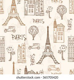 Vector Vintage Brown Paris Streets Travel Seamless Pattern with Eiffel Tower, houses, trees and vintage cars.