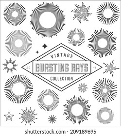 Vector vintage burstings rays set -  design elements for your design. Great for retro style projects.