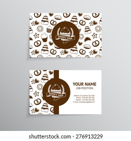 vector vintage business card design template with tasty cakes pancakes bread pastry and - Bakery Business Cards