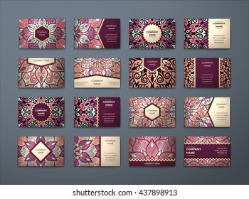 Vector vintage business cards big set. Floral mandala pattern and ornaments. Oriental design Layout. Islam, Arabic, Indian, ottoman motifs. Front page and back page.