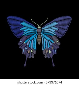 Vector vintage butterfly, decorative element for embroidery, patches and stickers
