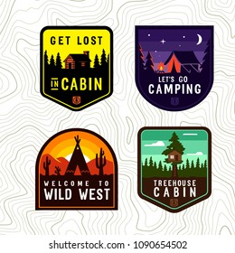 Vector vintage cabin, campimg patch set.