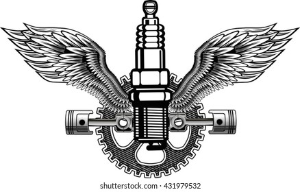 Vector of vintage car symbols.  engine spark automotive.