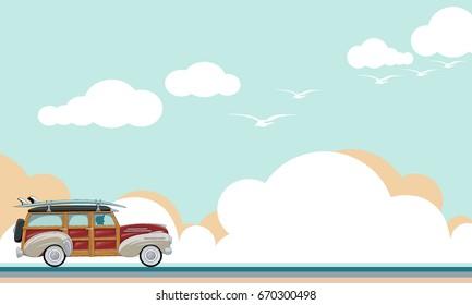 Vector vintage car, travel flat style retro banner