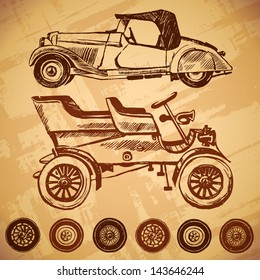 Vector vintage car and wheel set. ink stains and brush strokes. texture of the old paper
