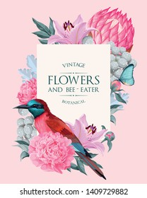 Vector vintage card with flowers and bird