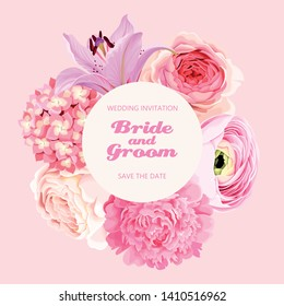 Vector vintage card with high detailed rose, peony and lily