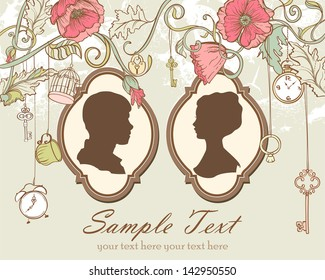 Vector Vintage card with just married