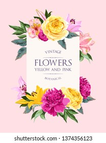 Vector vintage card with pink and yellow flowers
