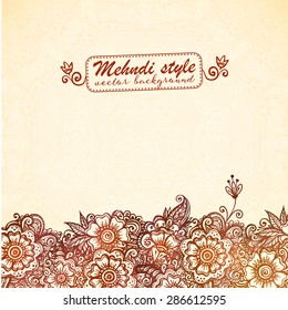 Vector vintage card template in Indian henna mehndi style