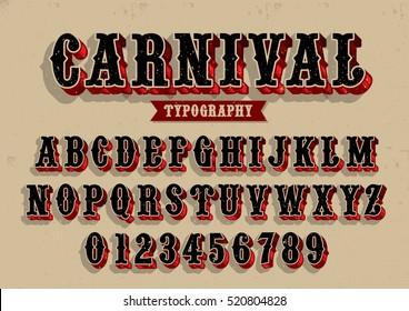 Vector van vintage carnaval lettertype en alfabet