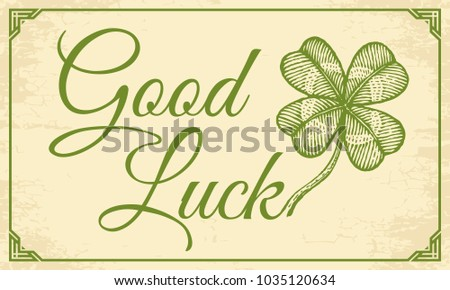 d95d0ac354e4 Vector vintage celtic poster with clover for Patrick s day. Green lucky  clover and text Good