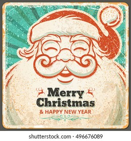 Vector vintage Christmas greeting card design with Santa Claus. Retro illustration with copy space for text.