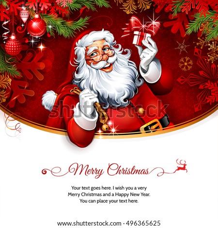 Vector vintage christmas greeting card design stock vector royalty vector vintage christmas greeting card design with santa claus holding a present retro illustration with m4hsunfo
