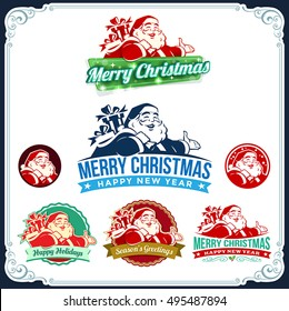 Vector vintage Christmas labels with cartoon Santa Claus retro illustration. Calligraphic and typographic design elements.