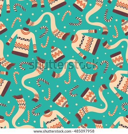 vector vintage christmas wrapping paper with winter sweaters hats and scarf festive holiday christmas - Vintage Christmas Wrapping Paper