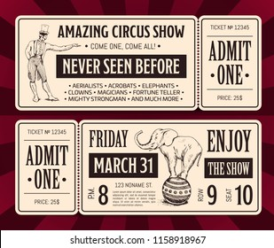Vector vintage circus show ticket front and back templates with typography and hand drawn magician and elephant isolated