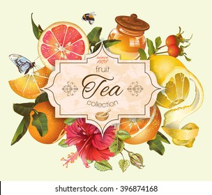 Vector vintage citrus banner with honey, hibiscus and rose hip.Design for tea, juice, natural cosmetics, baking,candy and sweets with citrus filling,grocery,health care products. With place for text.