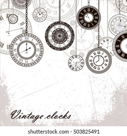 Vector vintage clock dials seamless pattern. Classic antique watch isolated. Ancient retro timer design. Traditional silhouette. Old graphic timer object design. Elegant collection
