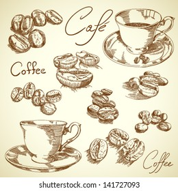 Vector vintage coffee set
