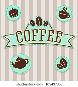 Vector vintage coffee shop logo and icons