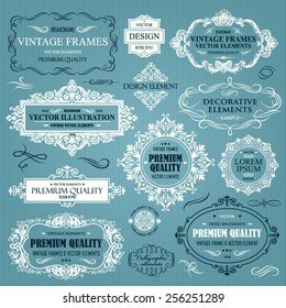 Vector vintage collection: Baroque, antique frames, labels, emblems, ornamental and calligraphic design elements for page decoration on a blue background