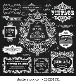 Vector vintage collection: Baroque, antique frames, labels, emblems, ornamental and calligraphic design elements for page decoration on a chalkboard background