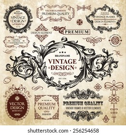 Vector vintage collection: Baroque and antique frames, labels, emblems and ornamental design elements on a old paper textural background