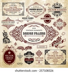 Vector vintage collection: Baroque and antique frames, labels, emblems and ornamental design elements on a old paper background