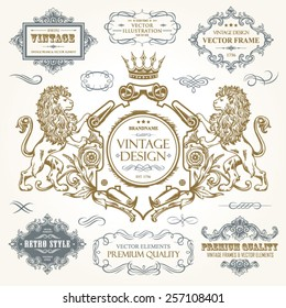 Vector vintage collection: Baroque, antique frames, frame with heraldic lions, ornamental and calligraphic design elements for page decoration on a old paper textural background
